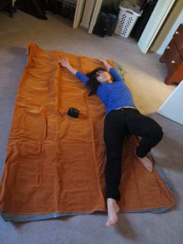 Deflated ALPS queen air mattress