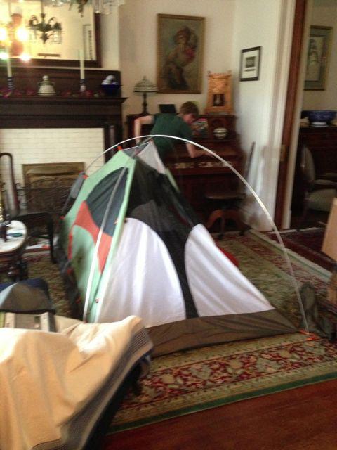 half-assembled Camp Dome 2 tent
