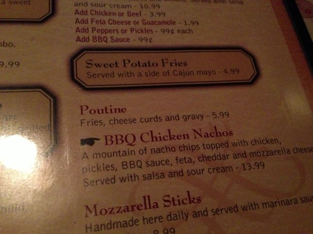 Snooty Fox poutine menu