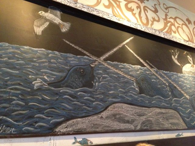 Narwhal chalk mural, Rabias, Boston