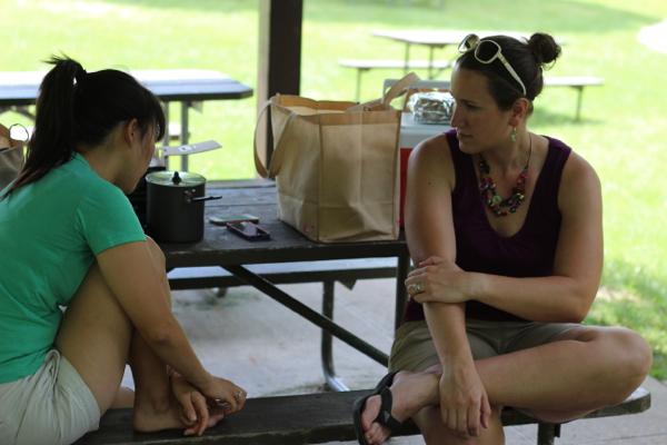 Mica & Kim in picnic shelter