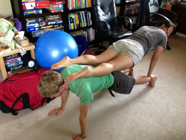 stacked yoga pose