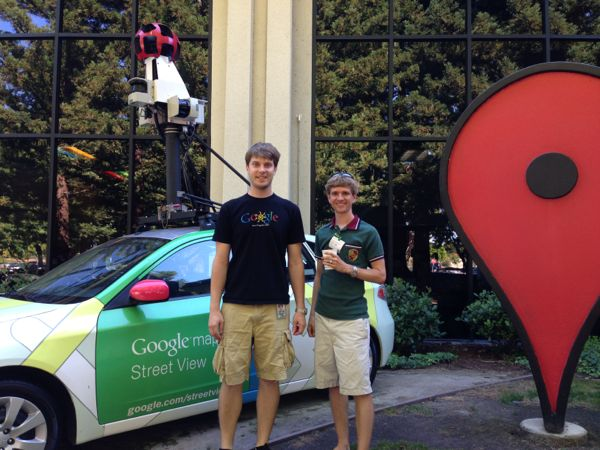 Matt and Harrison at Google Maps building
